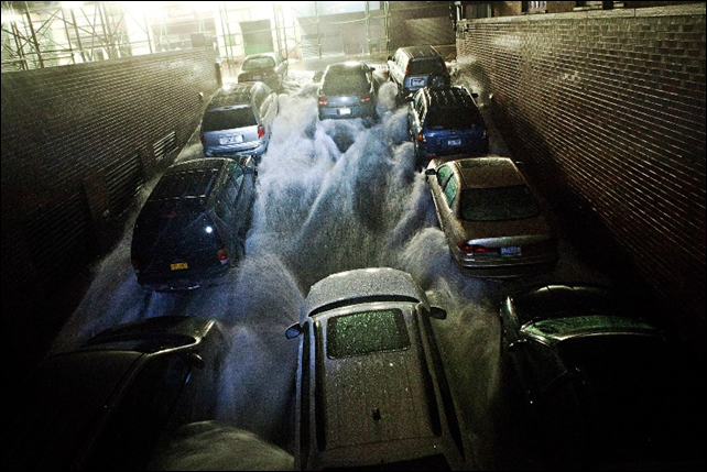 Flood waters from Hurricane Sandy rush into a parking garage in New York City, 30 October 2012. Photo: via excitingnewsfromaroundtheworld.blogspot.com