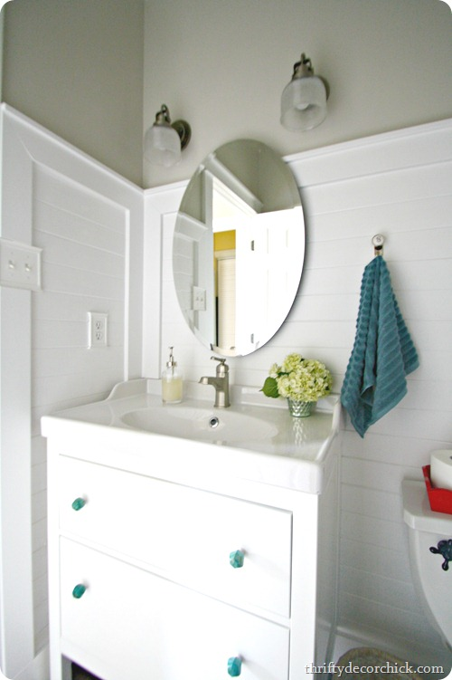 planked wood walls bathroom - Ikea Hemnes Vanity And More From Thrifty Decor Chick