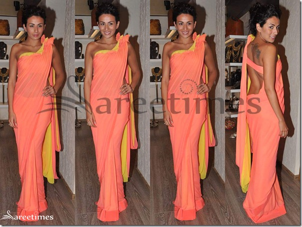 Orange_Designer_Georgette_Saree