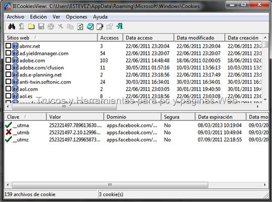 IECookiesView es una pequeña utilidad que muestra los detalles de todas las cookies que Internet Explorer almacena en su ordenador
