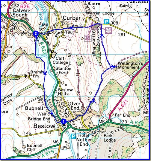 Our 7.5 km walking route (250 metres ascent)