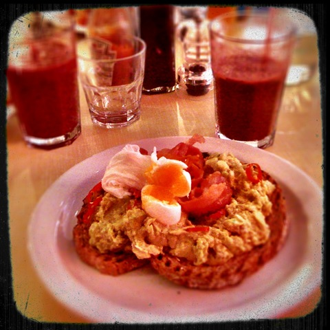 The Breakfast Club's avocado, bacon and egg on toast with Pommy Granny smoothie
