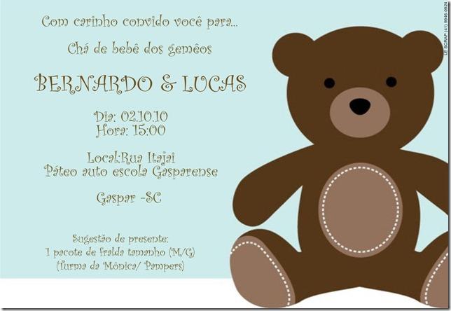 Convite gemeos Bernardo e Lucas