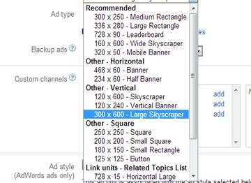AdSense ad sizes