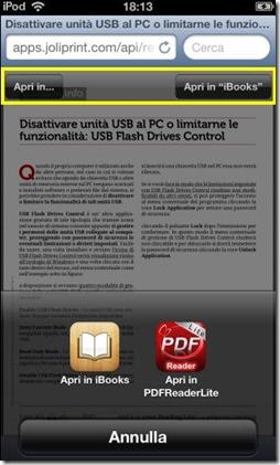 Salvare pagina web in PDF su iBooks