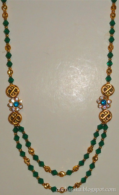 My hobbies ethnic gold plated side pendant necklace with dark ethnic gold plated side pendant necklace with dark green bicone crystal beads traditional kerala double layered jewelry mozeypictures Choice Image