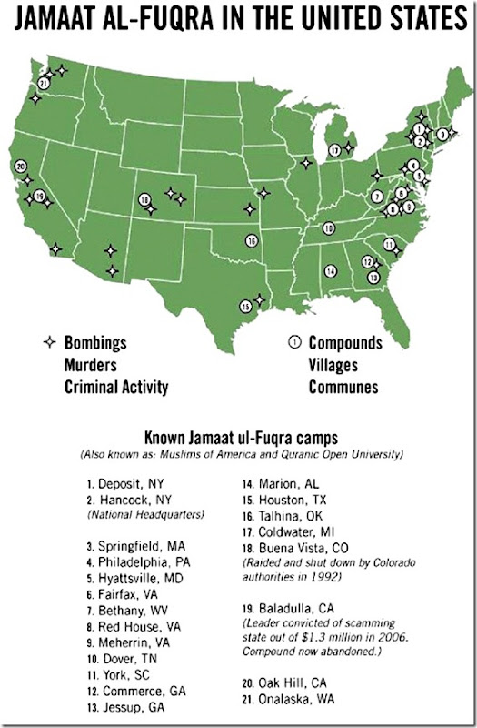 Jamaat al-Fuqra in USA map