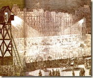 Travaux nocturnes des constructions de la rue de rivoli - gravure de jules galidrau