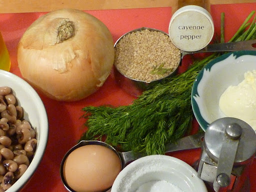 Ingredients for Black-Eyed Pea and Bulgur burgers.