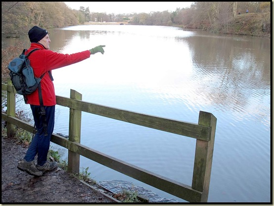 Steve points out Lymm Dam