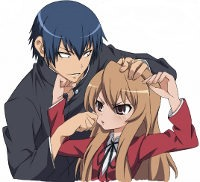 Ryuuji and Taiga mock-fighting