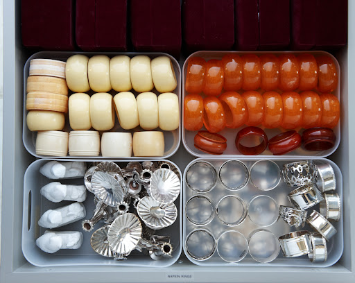 Organize napkin rings into plastic containers, so you'll never have to worry about losing or misplacing any rings.