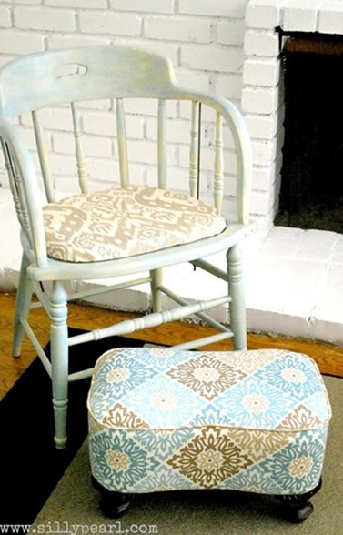 DIY Upholstered Footstool -- The Silly Pearl_thumb