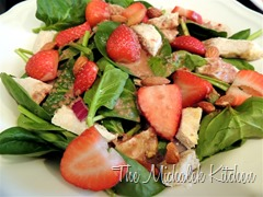 Strawberry Chicken Salad w Pom Vinagrette