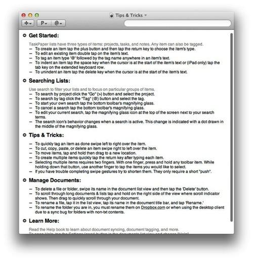 Taskpaper tips tricks