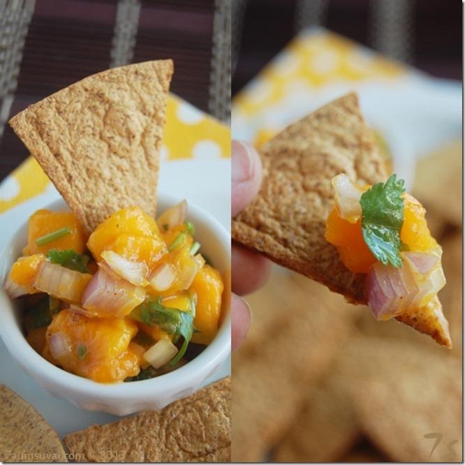 Mango salsa and baked tortilla chips