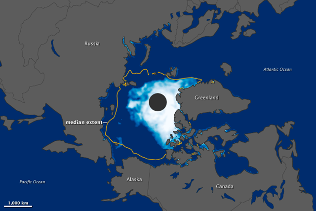 This image was made from observations collected by the Special Sensor Microwave Imager/Sounder (SSMIS) on the satellites of the U.S. Defense Meteorological Satellite Program. Sea ice appears in shades of white and light blue, with white indicating the greatest concentrations of ice. Open ocean water is blue, and land is gray. The yellow outline shows the median minimum ice extent for 1979-2000 on August 26. NASA Earth Observatory image by Jesse Allen, using data from the National Snow and Ice Data Center
