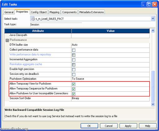 Informatica PowerCenter Pushdown Optimization setting