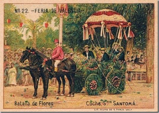 Cromo de la Batalla de Flores. Siglo XIX