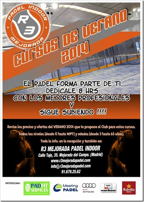 Cursos Pádel 8 horas Verano 2014 en el club R3 Mejorada Padel Indoor, Madrid.