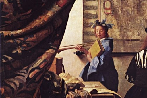Detail of painting 'The Art of Painting' by Vermeer