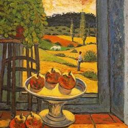 Benjamín Palencia (1968): Bodegón y paisaje tras la ventana. Transvanguardia/Figuración. Realismo crítico