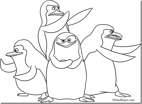 pinguinos de madagascar para colorear
