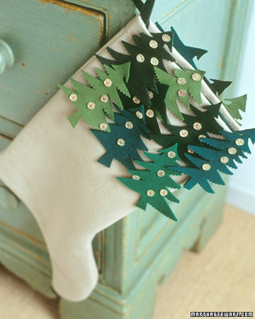 Add felt Christmas trees to a simple stocking to personalize it.