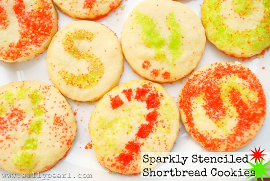 Sparkly Stenciled Shortbread Cookies by The Silly Pearl