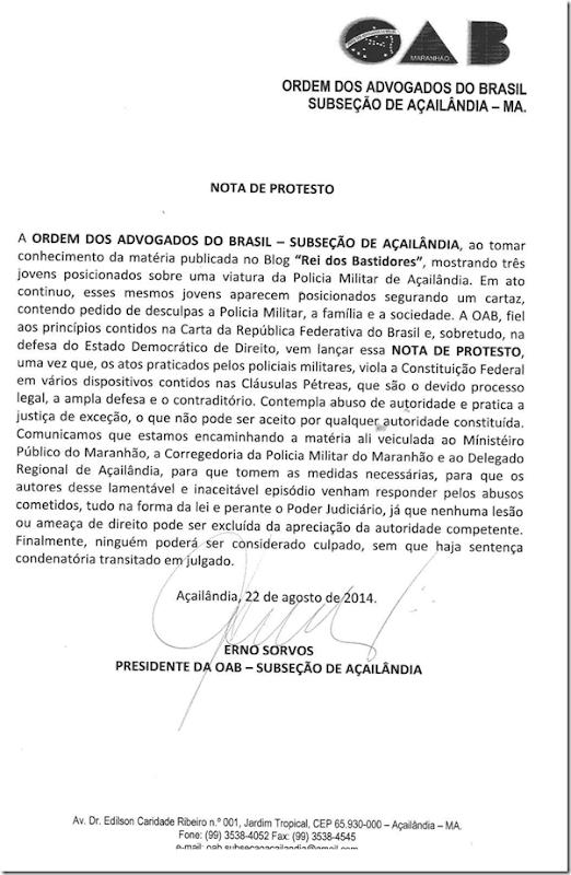 Nota de protesto da OAB contra abuso de autoridade da PM para com Jovens em Açailândiaa