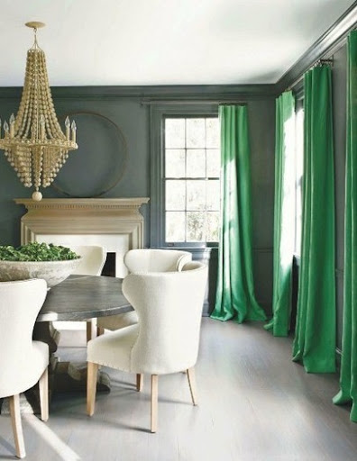 I adore the bright green curtains. They are such a dramatic way to introduce color into a neutral room. http://pinterest.com/pin/161566705351628582/