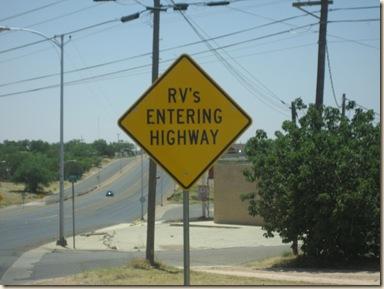 rv entering hiway