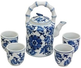 blue and white porcelain oriental tea set