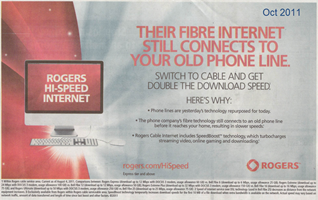 Rogers cable beats Bell fibre ... according to Rogers (click to enlarge)
