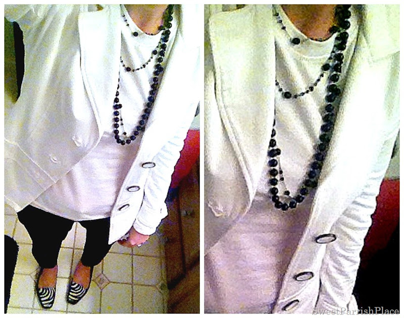 white blazer, black ankle pants, black beads