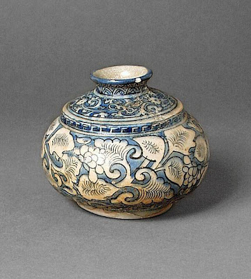 Spittoon Iran, Mashhad Spittoon, 17th century Ceramic; Vessel, Fritware, underglaze painted, 4 1/8 in. x 5 in. (10.5 cm X 12.7 cm) The Nasli M. Heeramaneck Collection, gift of Joan Palevsky (M.73.5.378) Art of the Middle East: Islamic Department.
