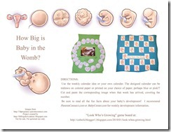 Pregnancy Calendar for Kids pg1