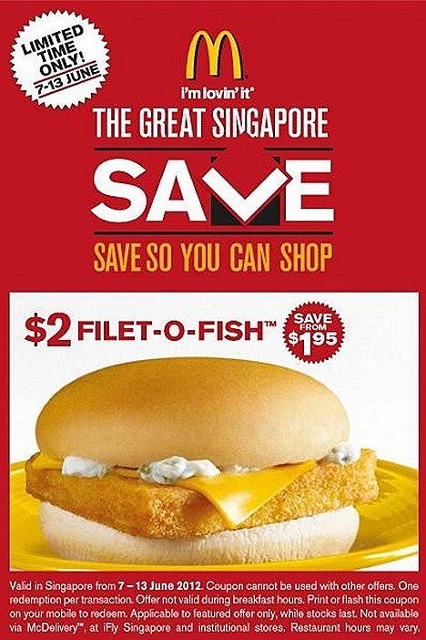 McDonalds Burger Offer $2 Fillet O Fish Great Singapore SALE flash mobile Singapore restaurants fast food except iFLY, Sentosa