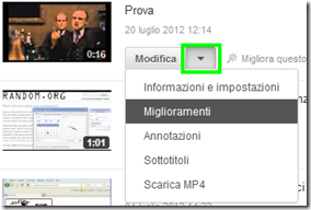 YouTUbe accedere ai Miglioramenti video