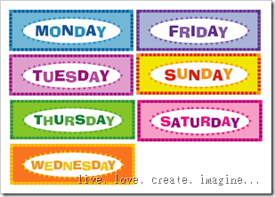image relating to Days of the Week Printable known as printable times of the 7 days chart -