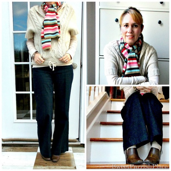 trouser jeans, booties with neutrals top and colorful scarf6
