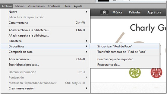 Sincronizar en Windows con iTunes 11