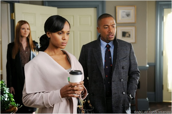 Darby Stanchfield, Kerry Washington and Columbus Short in SCANDAL.