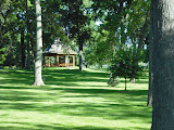 Lawn and memoial gazebo at Jesuit Retreat House in Oshkosh, WI