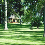 Lawn and memoial gazebo at Jesuit Retreat House in Oshkosh, WI