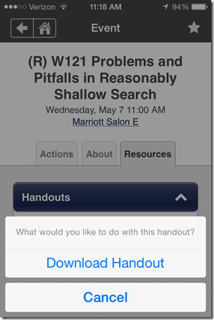NGS Conference App - Session handout download