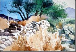 Monopati mit Olivenbaum, Mani Griechenland, Aquarell Landschaften