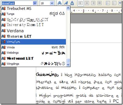 Selezionare font di scrittura da usare in un documento di testo