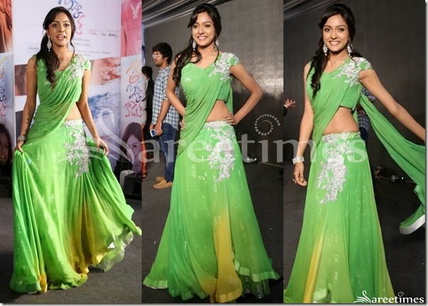 Vithika_Sheru_Green_Half_Saree