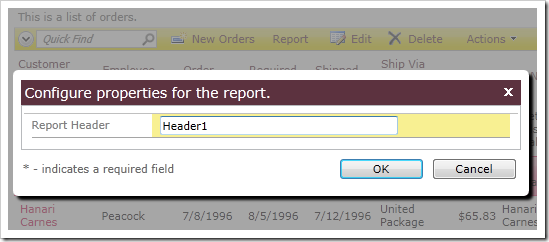 Confirmation controller with Report Header populated with the value 'Header1'.
